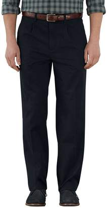 Charles Tyrwhitt Navy Classic Fit Single Pleat Weekend Cotton Chino Trousers Size W32 L30