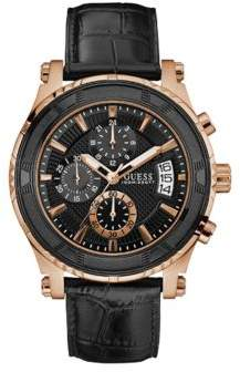 GUESS Pinnacle Stainless Steel and Crocodile Leather Strap Chronograph Watch