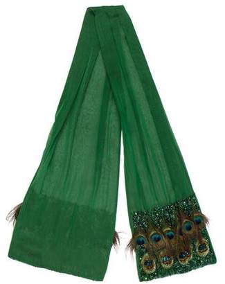 Roberta Furlanetto Embellished Feathered Scarf