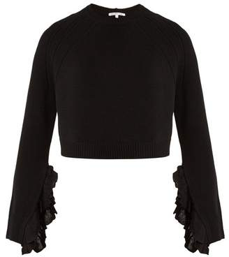 Helmut Lang Ruffle Trimmed Wool And Cashmere Blend Sweater - Womens - Black