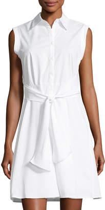 Neiman Marcus Front-Tie Poplin Shirtdress, White $69 thestylecure.com