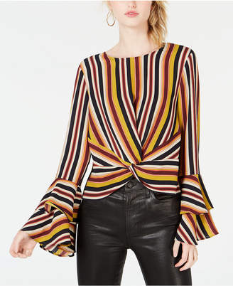 Bar III Striped Flared-Sleeve Top