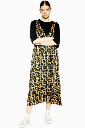 Topshop Womens **Printed Pinafore Dress By Boutique - Black