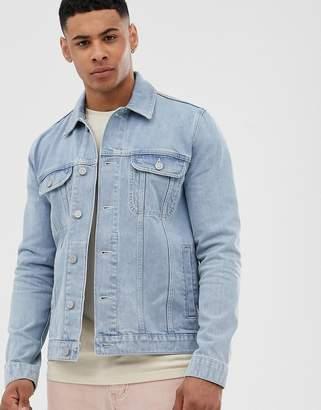 Asos Design DESIGN regular denim jacket in light wash