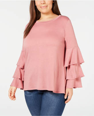 NY Collection Plus Size Ruffle-Sleeve French Terry Top