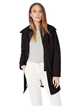 Kenneth Cole New York Women's Thigh Length Zip rain Jacket stoweaway Hood in Collar