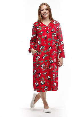 La Cera Novelty Print Henley Flannel Nightshirt