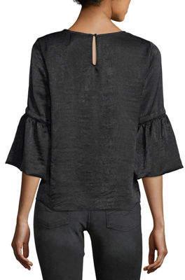 Waverly Grey Satin 3/4-Bell-Sleeve Top