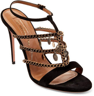 Aquazzura X Naty Abascal Black Naty Chain Trim Sandals