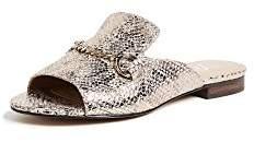 The Fix Women's Nikole Open Toe Slide with Chain Detail Flat Sandal