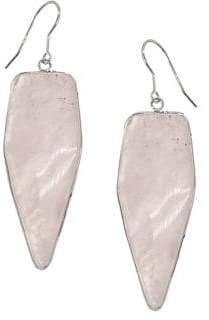 Lord & Taylor Sterling Silver and Rose Quartz Drop Earrings