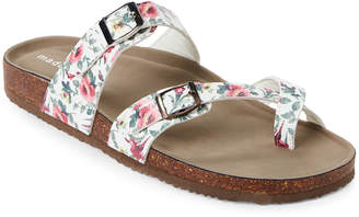 Madden-Girl White & Pink Bryceee Floral Footbed Sandals