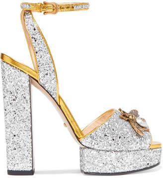 Embellished Glittered Leather Platform Sandals - Silver