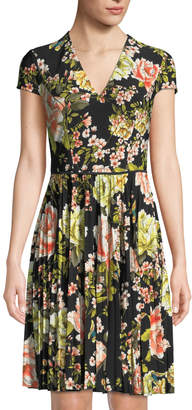 Maggy London Pleated Cap-Sleeve Floral Dress