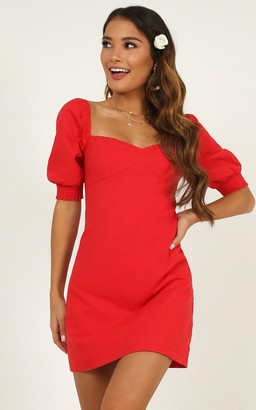 Showpo Sneaky Chatter Dress in red linen look - 14 (XL) Dresses