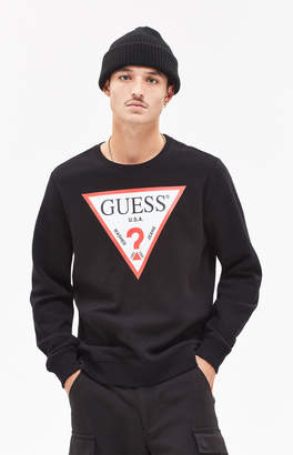 Guess Tri Logo Zipper Crew Neck Sweatshirt
