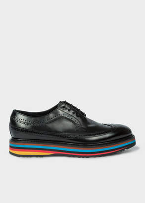 Paul Smith Men's Black Leather 'Grand' Brogues With Striped Soles