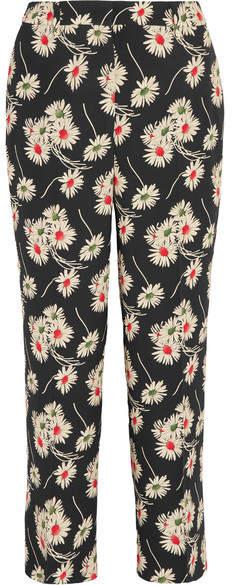 Prada - Cropped Floral-print Crepe Wide-leg Pants - Black