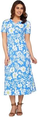 Denim & Co. Short Sleeve V-neck Floral Print Knit Dress