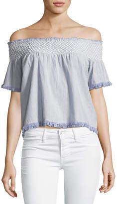 Love Sam Off-the-Shoulder Striped Cotton Top w/ Hand Smocking