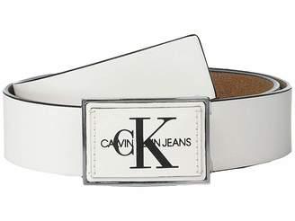 Calvin Klein 38mm Rubberized Leather Belt w/ Logo Buckle
