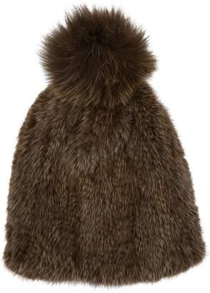 Yves Salomon Mink Fur Pom Pom Hat