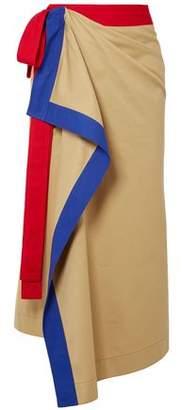 Rosie Assoulin Draped Color-block Cotton-twill Midi Wrap Skirt