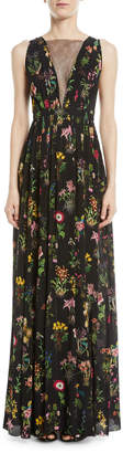 No.21 No. 21 Sleeveless Floral-Print Long Evening Gown