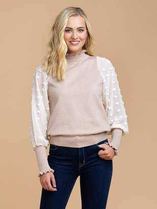 Goodnight Macaroon 'Huni' Dotted Chiffon Sleeve Frilled Sweater