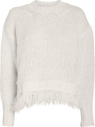 Philosophy di Lorenzo Serafini Feather Trimmed Wool-Alpaca Sweater