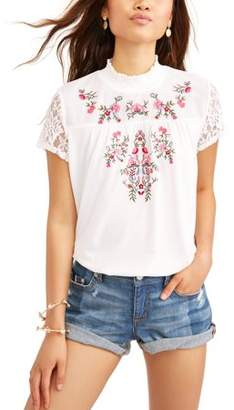 Time and Tru Embroidered High Neck T-Shirt