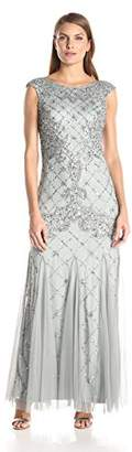 Adrianna Papell Women's Fully Beaded Gown with High Neckline $320 thestylecure.com