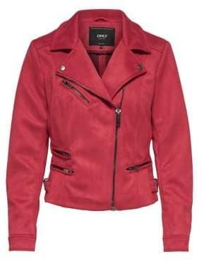 Only Faux Suede Bonded Biker Jacket