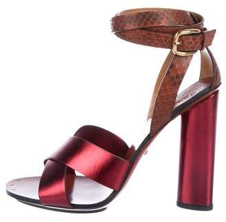 Gucci Snakeskin-Trimmed Metallic Sandals