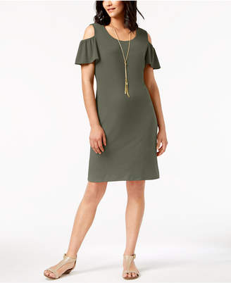 JM Collection Cold-Shoulder Removable-Necklace Dress