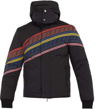 Fendi Logo Print Down Filled Ski Jacket - Mens - Black