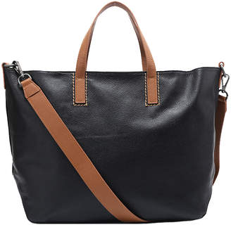 Brix And Bailey Black Pebbled Leather Top Handle Tote