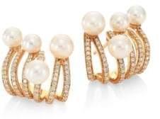 Hueb Rainbow Diamond, Freshwater Pearl& 18K Yellow Gold Ear Cuffs