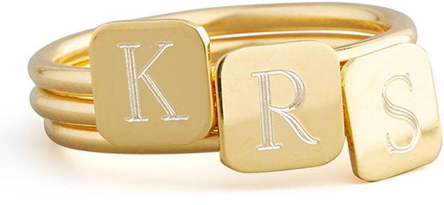 Sarah Chloe Gold Letter-Engraved Square Ring