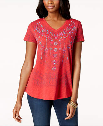 Style&Co. Style & Co Embroidered V-Neck T-Shirt
