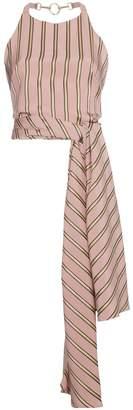 Esteban Cortazar Striped satin wrap top
