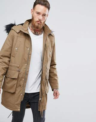 Asos Design Heavyweight Parka With Borg Lining And Faux Fur Trim in Tobacco