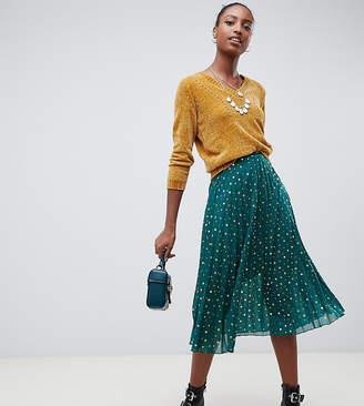Glamorous Tall midi skirt in pleated spot print