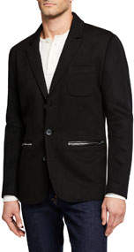 Men's Textured Blazer With Zipper Pockets