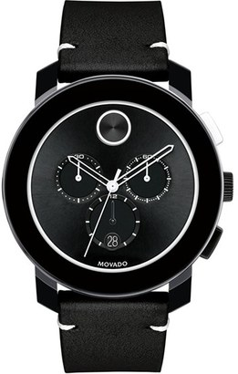 Movado 'Bold' Chronograph Leather Strap Watch, 42Mm $595 thestylecure.com
