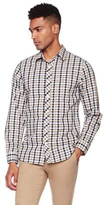 Wood Paper Company Men's Long Sleeve Slim Fit Single Pocket Contrast Placket Cotton Gingham Shirt