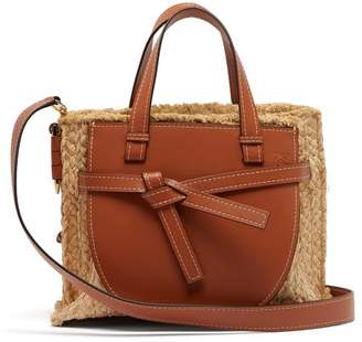 dad74720dc Loewe Gate Small Leather And Raffia Top Handle Bag - Womens - Tan Multi
