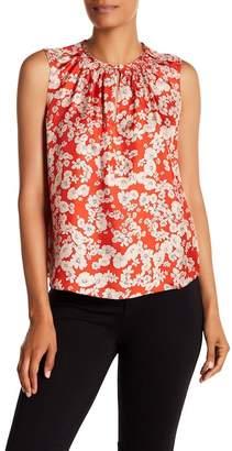 Rebecca Taylor Sleeveless Cherry Blossom Print Silk Top
