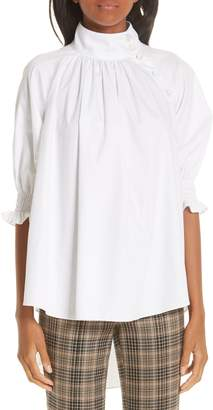 ADAM by Adam Lippes Cotton Poplin Smocked Blouse