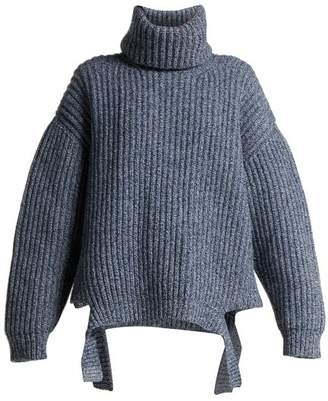 Balenciaga Oversized Cut Out Hem Wool Sweater - Womens - Blue Multi